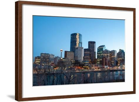Calgary Skyline at Night-Jeff Whyte Photography-Framed Art Print