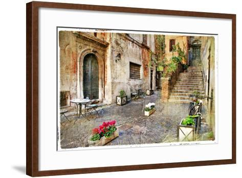 Pictorial Old Streets of Italy,Rome. Artistic Picture in Retro Style-Maugli-l-Framed Art Print