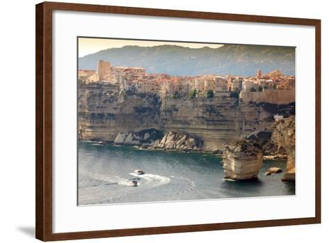 Bonifacio Town on Cliff, Corsica Island, France-smithore-Framed Art Print