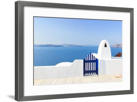 Santorini Balconny with View at the Aegean Sea-Netfalls-Framed Art Print
