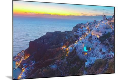 Oia Village at Night, Santorini-neirfy-Mounted Photographic Print