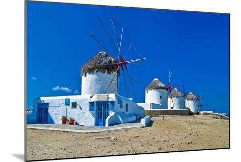 Windmills of Sunny Mykonos (Greece, Cyclades)-Maugli-l-Mounted Photographic Print