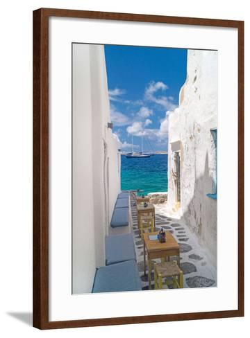 Traditional Greek Alley on Mykonos Island, Greece-papadimitriou-Framed Art Print