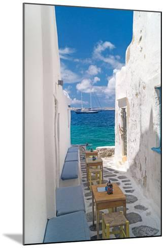 Traditional Greek Alley on Mykonos Island, Greece-papadimitriou-Mounted Photographic Print