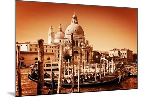 Venice, Italy. Gondolas on Grand Canal and Basilica Santa Maria Della Salute. Vintage Style, Golden-Michal Bednarek-Mounted Photographic Print