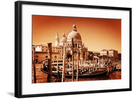 Venice, Italy. Gondolas on Grand Canal and Basilica Santa Maria Della Salute. Vintage Style, Golden-Michal Bednarek-Framed Art Print
