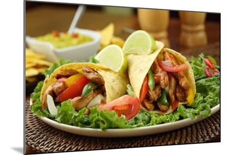 Chicken Fajita  with Guacamole and Tortillas - Dish of Mexico-FBB-Mounted Photographic Print