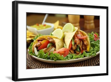 Chicken Fajita  with Guacamole and Tortillas - Dish of Mexico-FBB-Framed Art Print