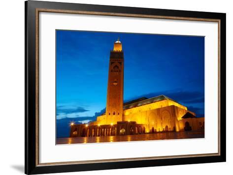 Hassan II Mosque in Casablanca, Morocco Africa-silver-john-Framed Art Print