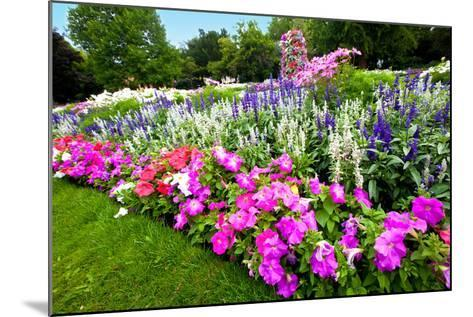 Pretty Manicured Flower Garden with Colorful Azaleas.-Juriah-Mounted Photographic Print