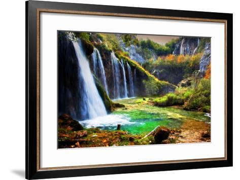 Waterfall in Forest. Crystal Clear Water. Plitvice Lakes, Croatia-Michal Bednarek-Framed Art Print