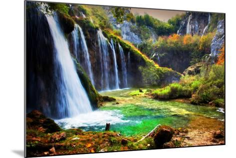 Waterfall in Forest. Crystal Clear Water. Plitvice Lakes, Croatia-Michal Bednarek-Mounted Photographic Print