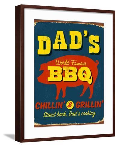 Vintage Design -  Dad's BBQ-Real Callahan-Framed Art Print