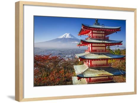 Mt. Fuji and Pagoda during the Fall Season in Japan.-SeanPavonePhoto-Framed Art Print