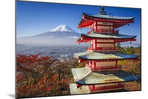 Mt. Fuji and Pagoda during the Fall Season in Japan.-SeanPavonePhoto-Mounted Photographic Print