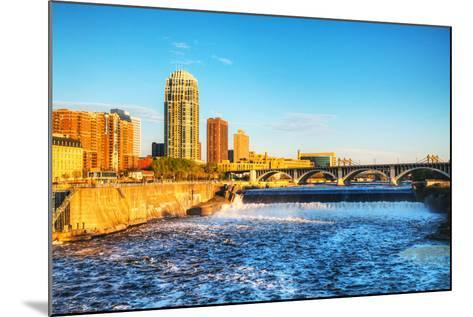 Downtown Minneapolis, Minnesota at Night Time and Saint Anthony Falls-photo.ua-Mounted Photographic Print