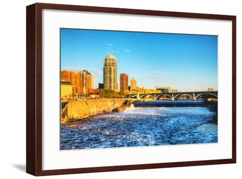 Downtown Minneapolis, Minnesota at Night Time and Saint Anthony Falls-photo.ua-Framed Art Print
