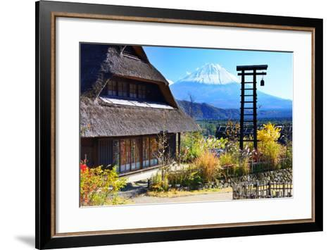 Traditional Japanese Huts near Mt. Fuji, Japan.-SeanPavonePhoto-Framed Art Print