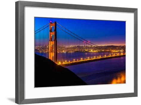 San Francisco Golden Gate Bridge Sunset View through Cables in California USA-holbox-Framed Art Print