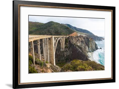 The Historic Bixby Bridge on the Pacific Coast Highway California Big Sur-flippo-Framed Art Print