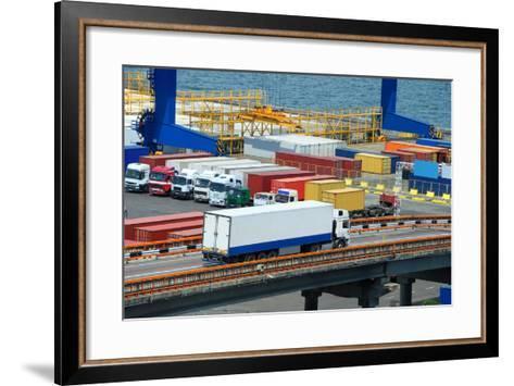 White Truck Transport Container in Port-soleg_1974-Framed Art Print