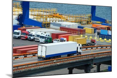 White Truck Transport Container in Port-soleg_1974-Mounted Photographic Print