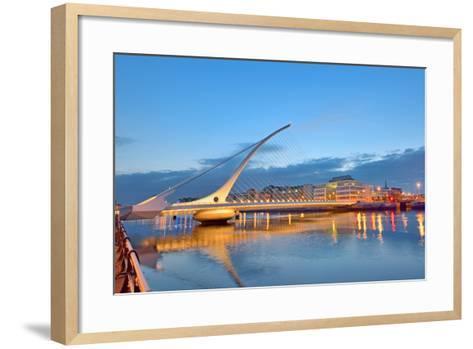 The Samuel Beckett Bridge in Night Time-laurentiu iordache-Framed Art Print