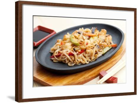 Noodles with Seafood. Japanese Cuisine-Gresei-Framed Art Print