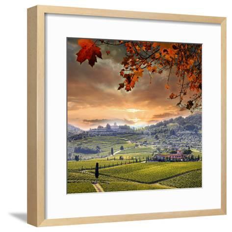 Chianti Vineyard Landscape in Tuscany, Italy-extravagantni-Framed Art Print