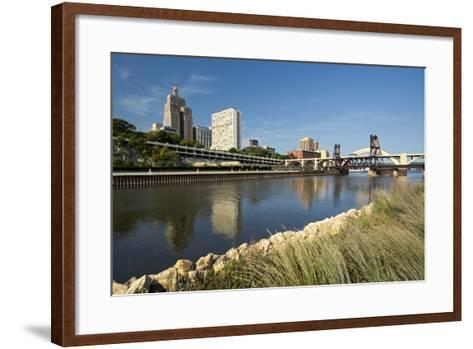 Railroad Track and Robert Street Bridge from Raspberry Island. Downtown Saint Paul, Minnesota-PhotoImages-Framed Art Print