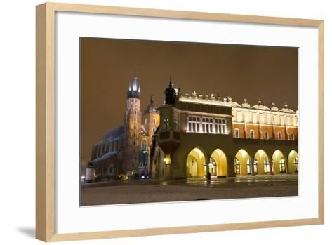 Market Square at Night, Poland, Krakow.-dziewul-Framed Art Print