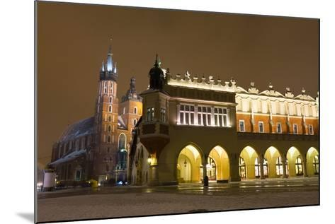 Market Square at Night, Poland, Krakow.-dziewul-Mounted Photographic Print