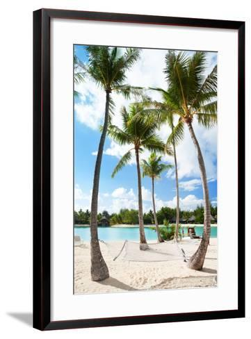 Hammock between Palm Trees at Beach on Bora Bora-BlueOrange Studio-Framed Art Print