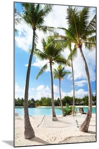 Hammock between Palm Trees at Beach on Bora Bora-BlueOrange Studio-Mounted Photographic Print