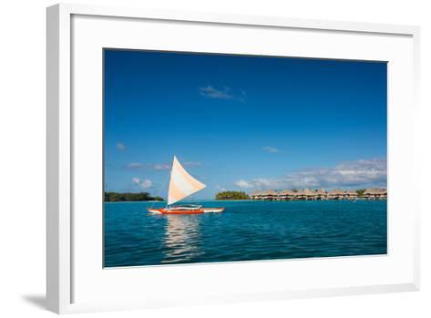 Sunset Sailing at Beautiful Bora Bora Lagoon-BlueOrange Studio-Framed Art Print