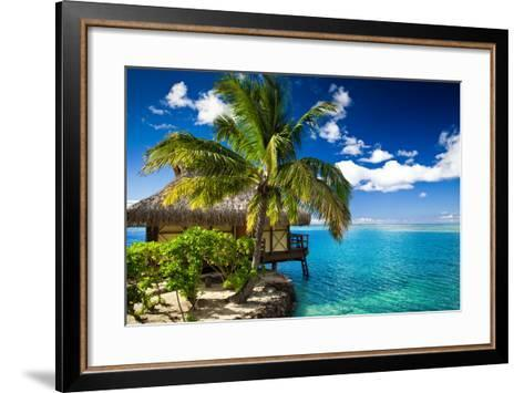 Tropical Bungalow and Palm Tree next to Amazing Blue Lagoon-Martin Valigursky-Framed Art Print