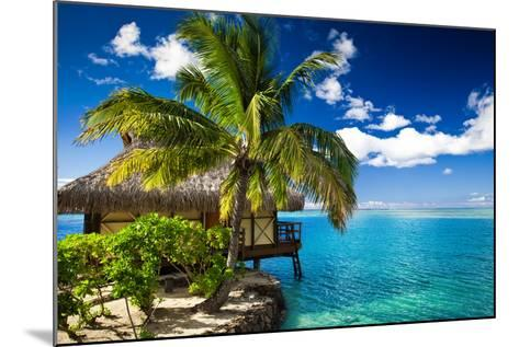 Tropical Bungalow and Palm Tree next to Amazing Blue Lagoon-Martin Valigursky-Mounted Photographic Print