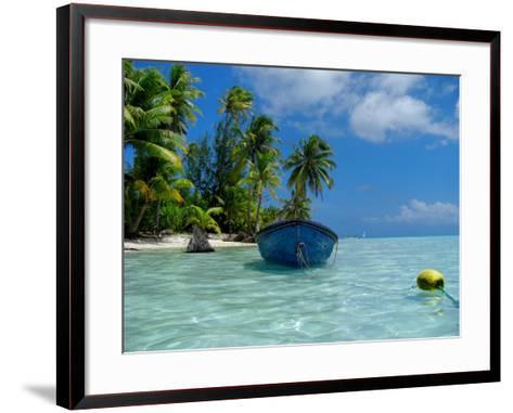 Blue Skiff Bora Bora Lagoon-Lawrence Da Luz Photography-Framed Art Print
