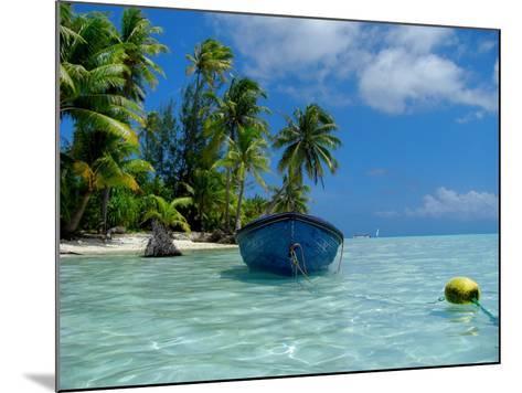 Blue Skiff Bora Bora Lagoon-Lawrence Da Luz Photography-Mounted Photographic Print