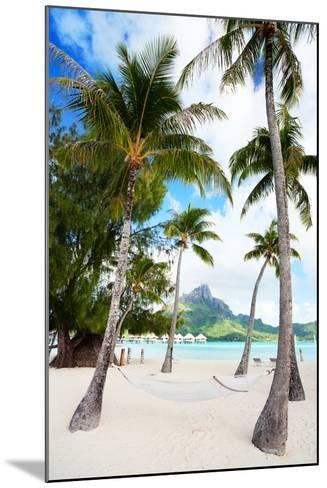 Beautiful Beach with Coconut Palms on Bora Bora Island in French Polynesia-BlueOrange Studio-Mounted Photographic Print