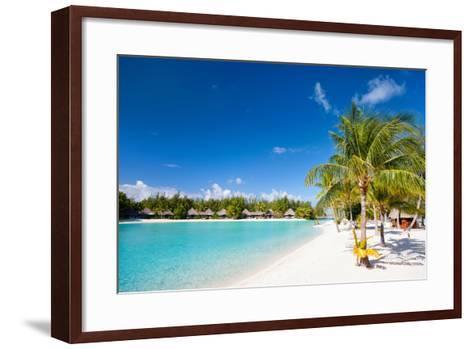 Beautiful Beach on Bora Bora Island in French Polynesia-BlueOrange Studio-Framed Art Print