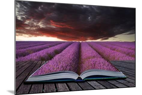 Creative Concept Pages of Book Stunning Lavender Field Landscape Summer Sunset under Moody Red Stor-Veneratio-Mounted Photographic Print