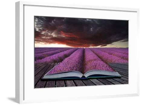 Creative Concept Pages of Book Stunning Lavender Field Landscape Summer Sunset under Moody Red Stor-Veneratio-Framed Art Print