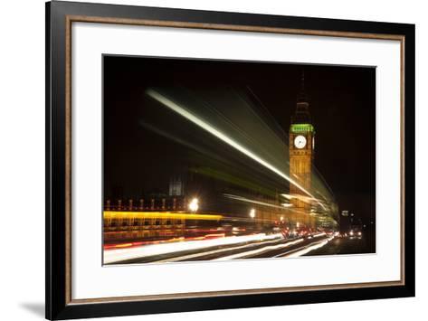 Long Exposure Lights from Traffic Big Ben London at Night-Veneratio-Framed Art Print