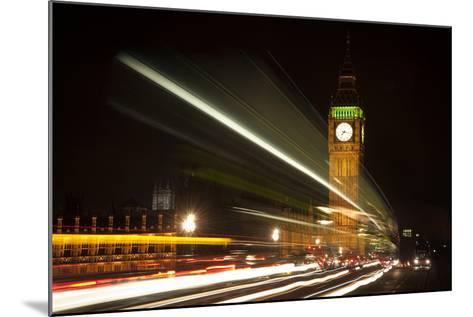 Long Exposure Lights from Traffic Big Ben London at Night-Veneratio-Mounted Photographic Print