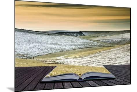 Creative Concept Idea of Winter Landscape Coming out of Pages in Magical Book-Veneratio-Mounted Photographic Print