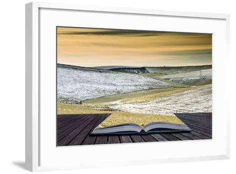Creative Concept Idea of Winter Landscape Coming out of Pages in Magical Book-Veneratio-Framed Art Print