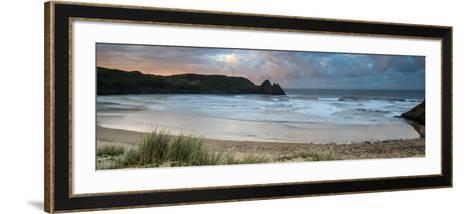 Sunrise Landscape Panorama Three Cliffs Bay in Wales with Dramatic Sky-Veneratio-Framed Art Print