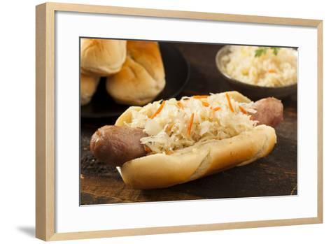 Homemade Bratwurst with Sauerkraut-bhofack22-Framed Art Print