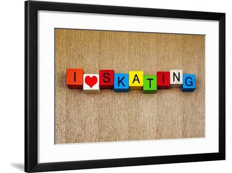 Skating - Sign for Ice and Roller Skating and Skateboarding-EdSamuel-Framed Art Print
